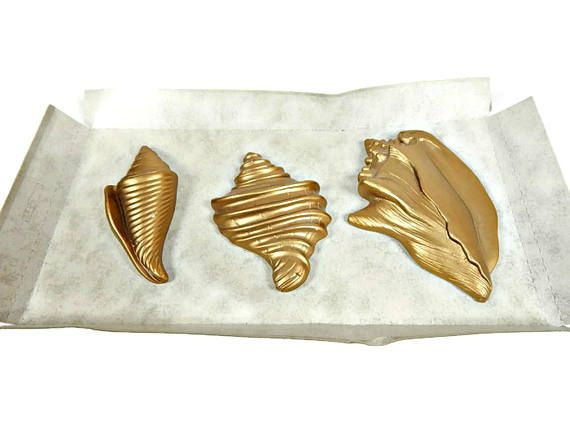 Miller Studio Chalkware Sea Shells Set 3 Gold Original Box