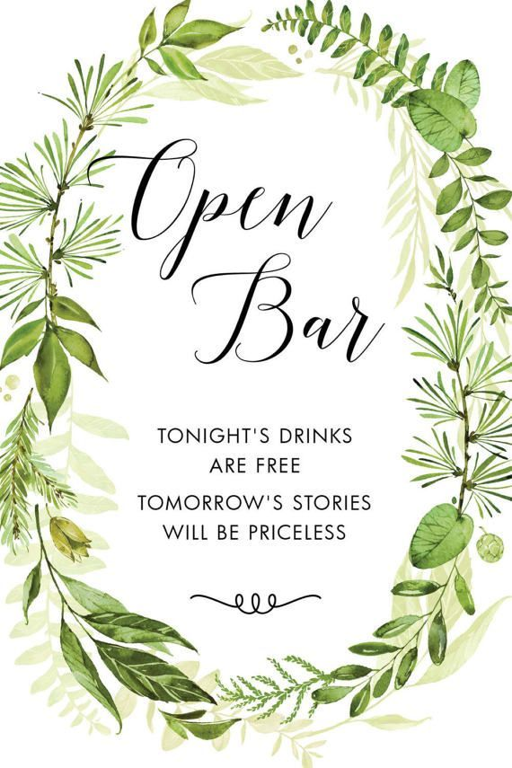 Wedding Quotes Printable Sign Open Bar Greenery