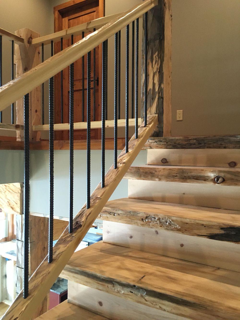 Stairwell Rustic Design 5 Balusters Stairs In 2019   Rustic Stair Railings Interior