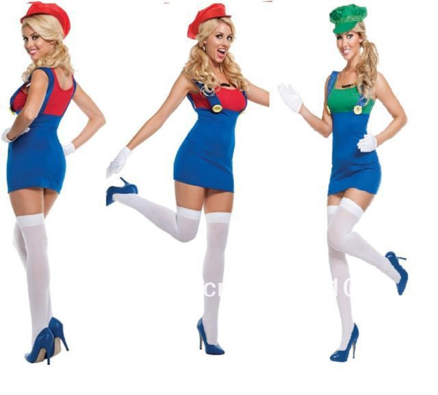 free shipping Womens Super Mario Luigi Brothers Plumber Fancy Dress Up Party Costume $22.55  sc 1 st  Pinterest & free shipping Womens Super Mario Luigi Brothers Plumber Fancy Dress ...