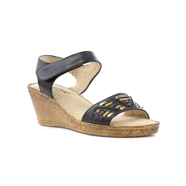74beeac877137 Cushion Walk Womens Black Wedge Comfort Sandal: Amazon.co.uk: Shoes ...