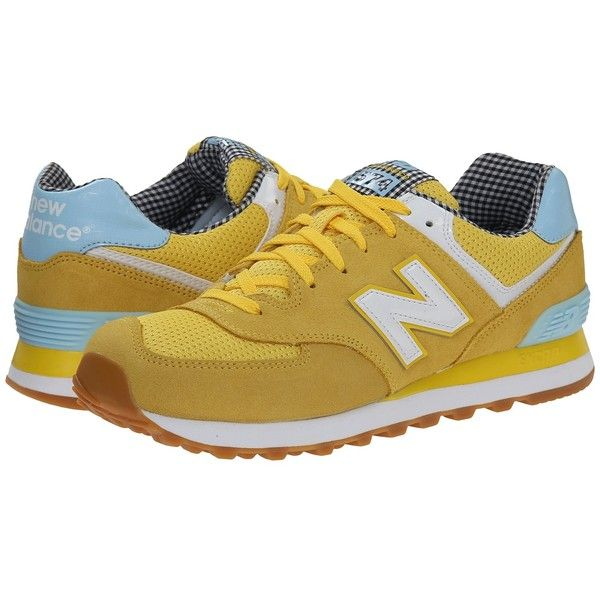 Womens Shoes New Balance Classics WL574 Blue/Yellow Suede/Mesh