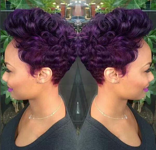 short purple hair cut african