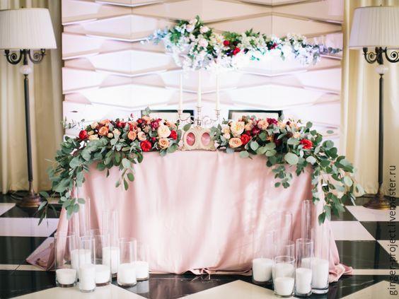 Свадебный стол молодых оформление фото