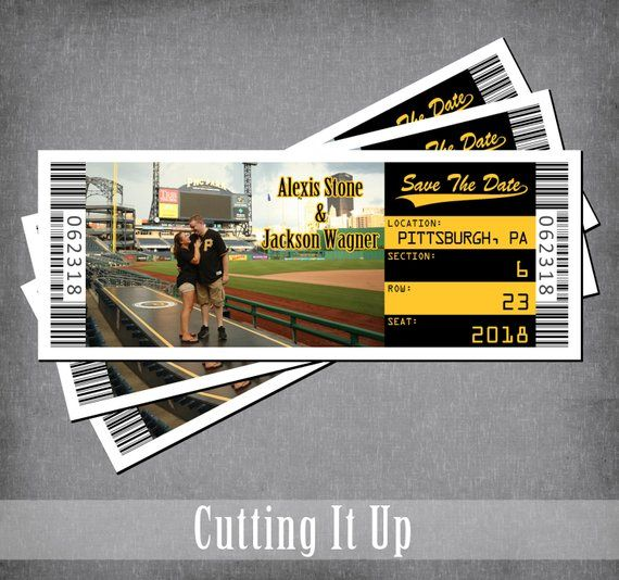 baseball save the date ticket magnet sports wedding theme