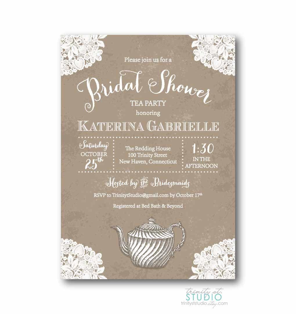 Tea Party Invitation Vintage Lace Bridal Shower Invite - Rustic ...