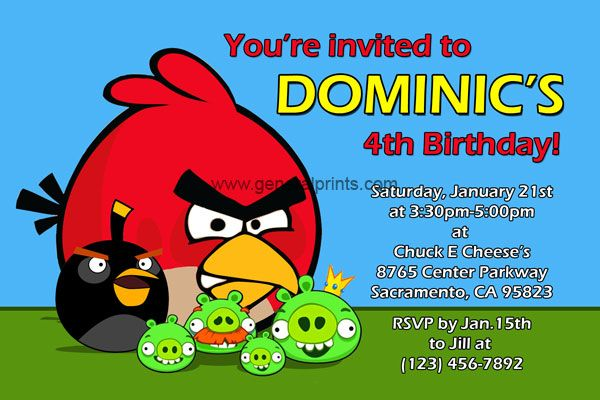 Personalized Angry Birds Invitations Space Birthday Printable Bird Birthday Invitations Kids Birthday Party Invitations Angry Birds Party