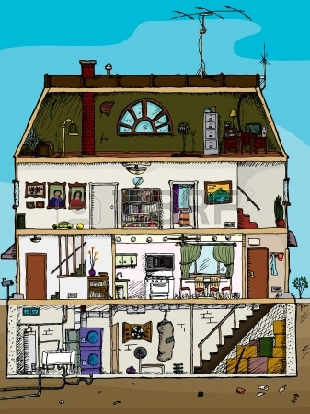 3 Story Old House Cartoon Cross Section With Basement Attic House Attic Remodel Attic Design