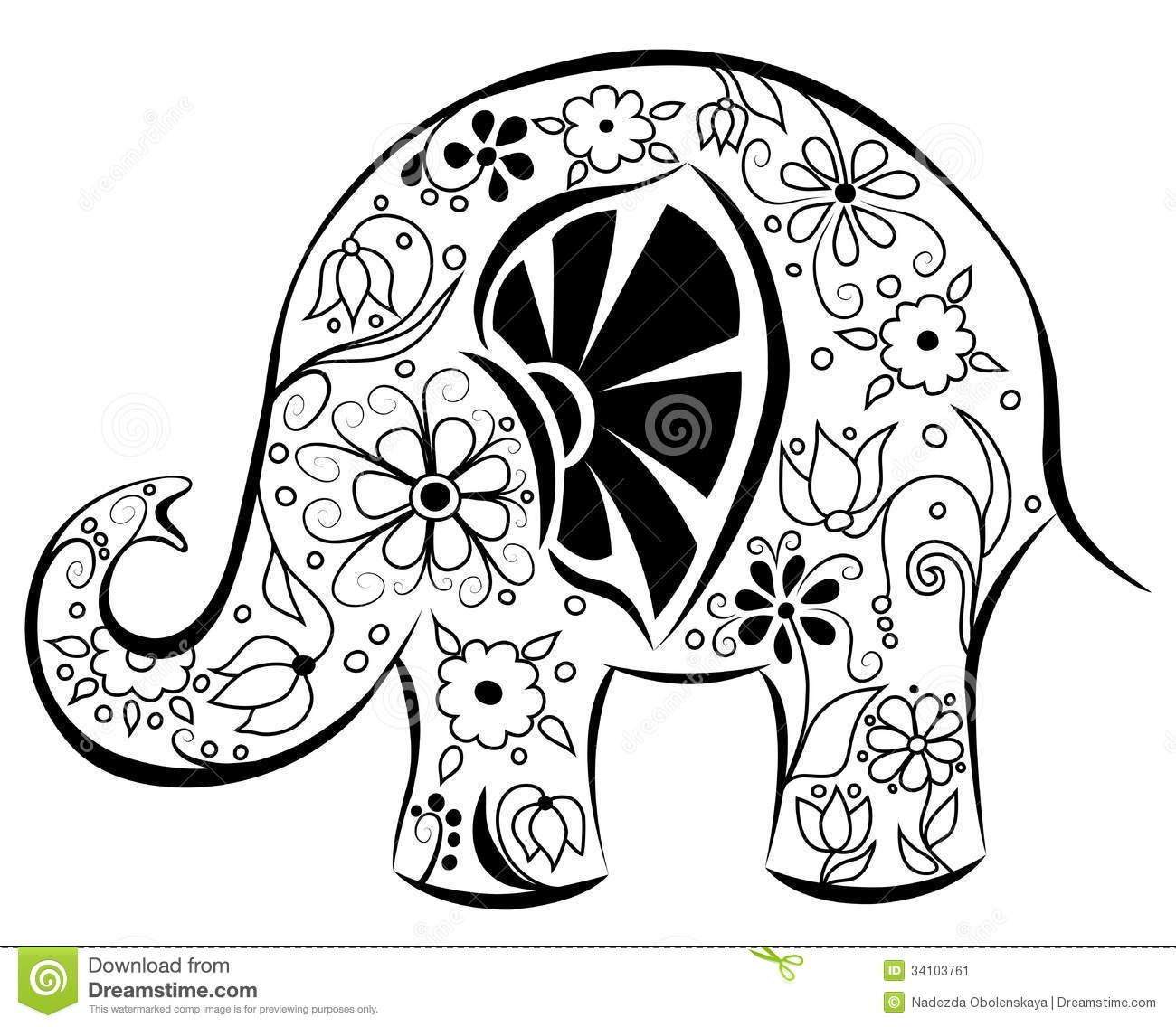 Silhouette Of An Elephant Painted By Flowers Stock Image