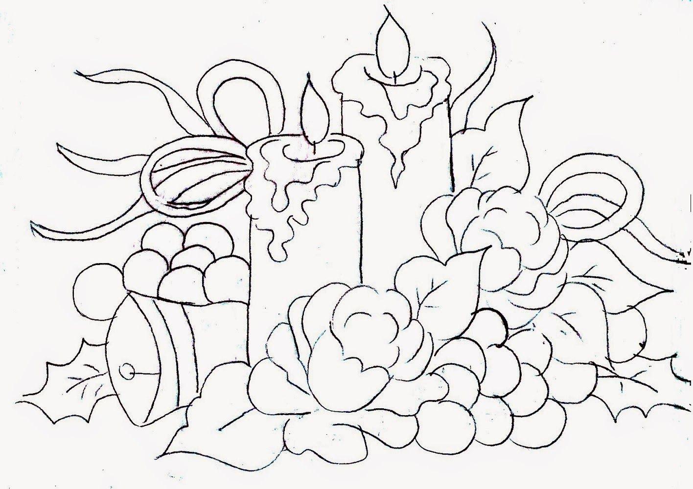 desenho de velas de natal com rosas uvas e velas para pintar em