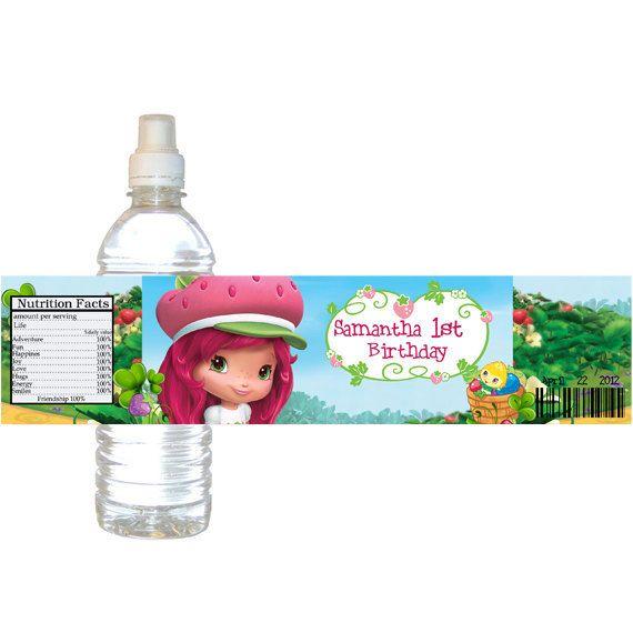 Personalized Strawberry Shortcake Birthday Party Water Bottle Label 300 Via Etsy