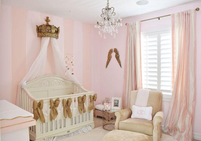 babyzimmer für kleine prinzessinnen, babybett mit himmel, krone