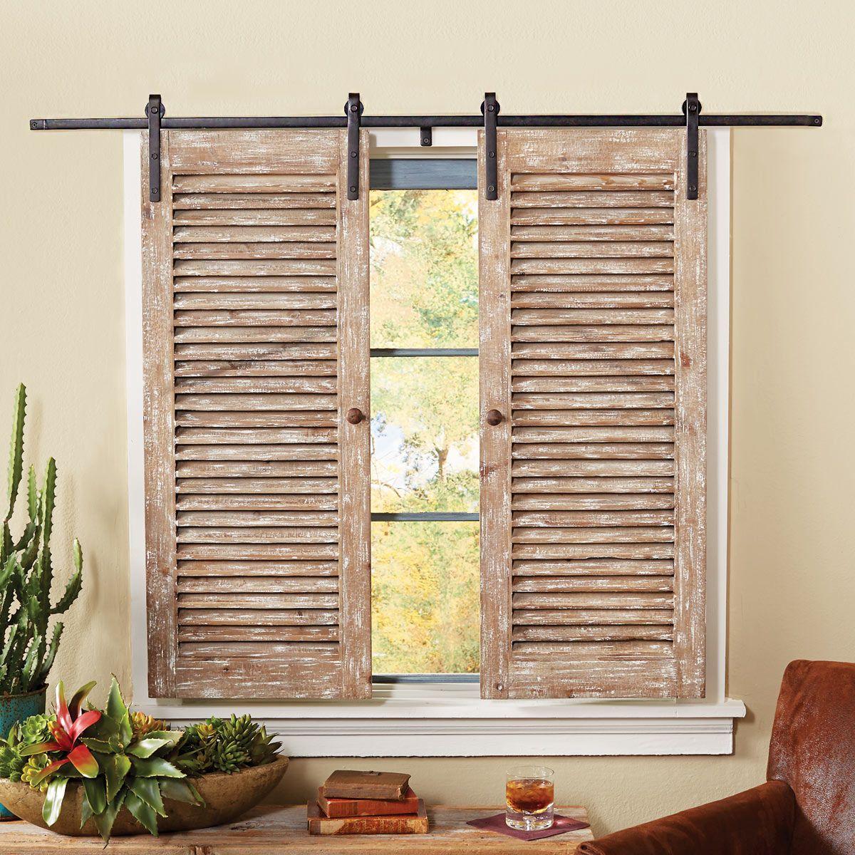 Barnwood Sliding Shutter Set Farmhouse Window Treatments Rustic House Home Diy
