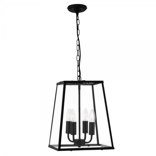 Searchlight lighting 4 light ceiling lantern in black finish with clear glass panels searchlight lighting from castlegate lights uk