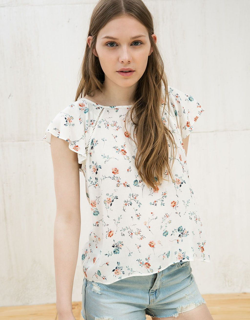 Printed top with ruffles and lace detail - null - Bershka Israel