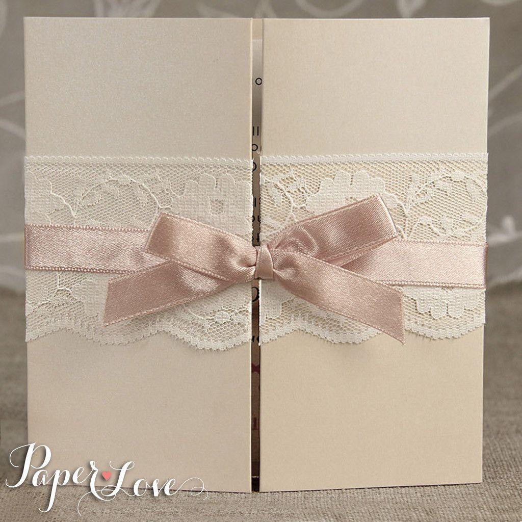 Personalised Wedding Invitations & Evening Invites Handmade - Lace ...
