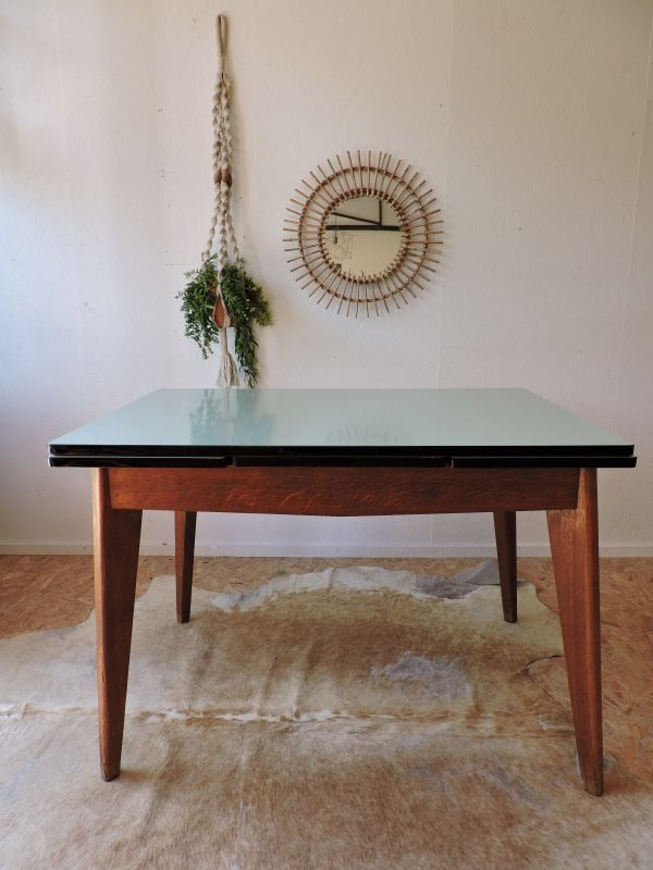 Table vintage chêne et formica Côte et Vintage Pinterest - Renovation Meuble En Chene
