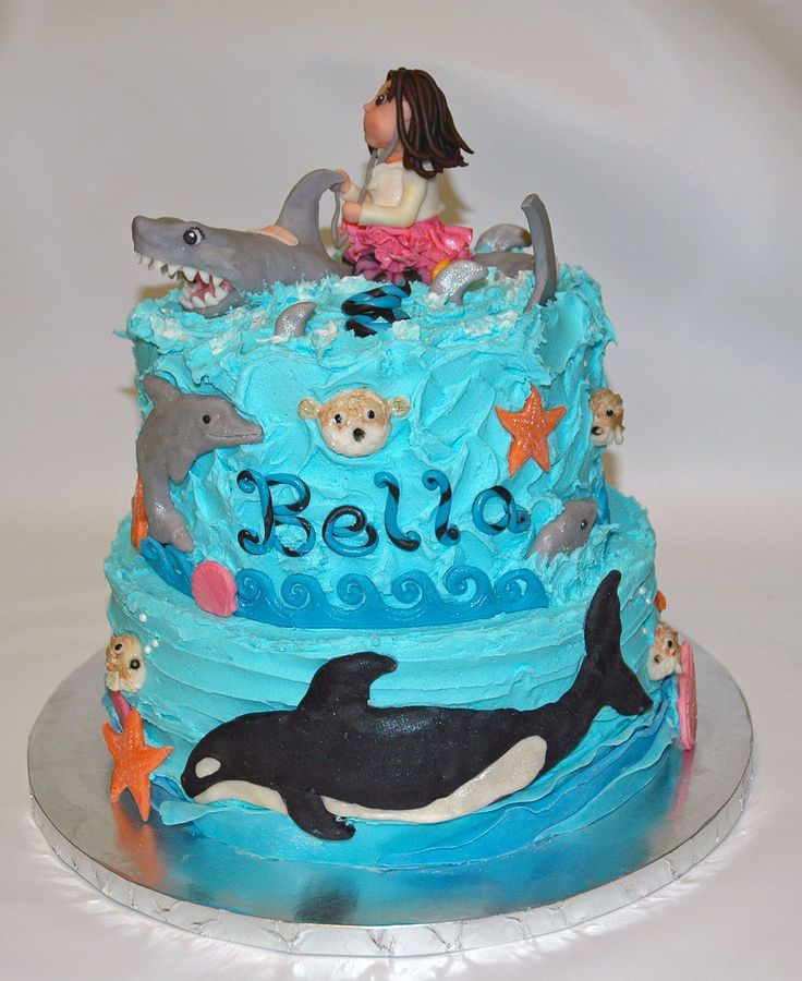 Under The Sea Fun Birthday Cake Featuring Killer Whale A Dolphin - Birthday cake 8 year old