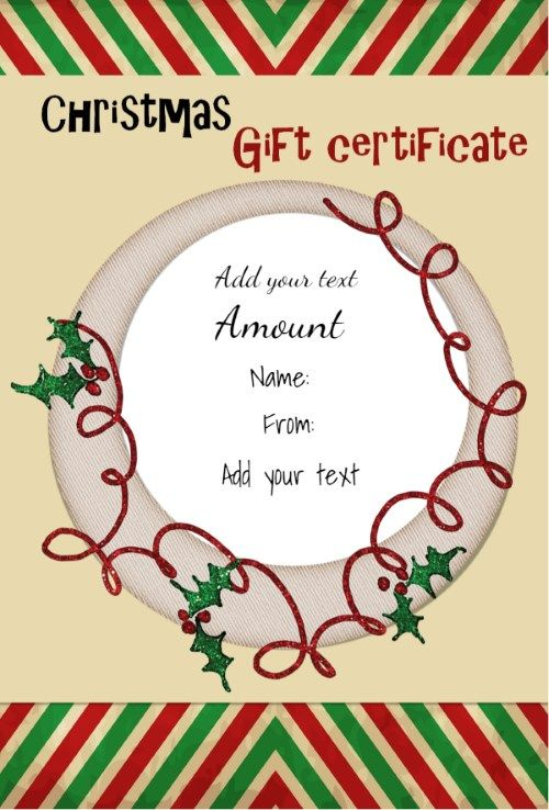 Free printable Christmas gift certificate template Can be – Christmas Gift Certificates Templates