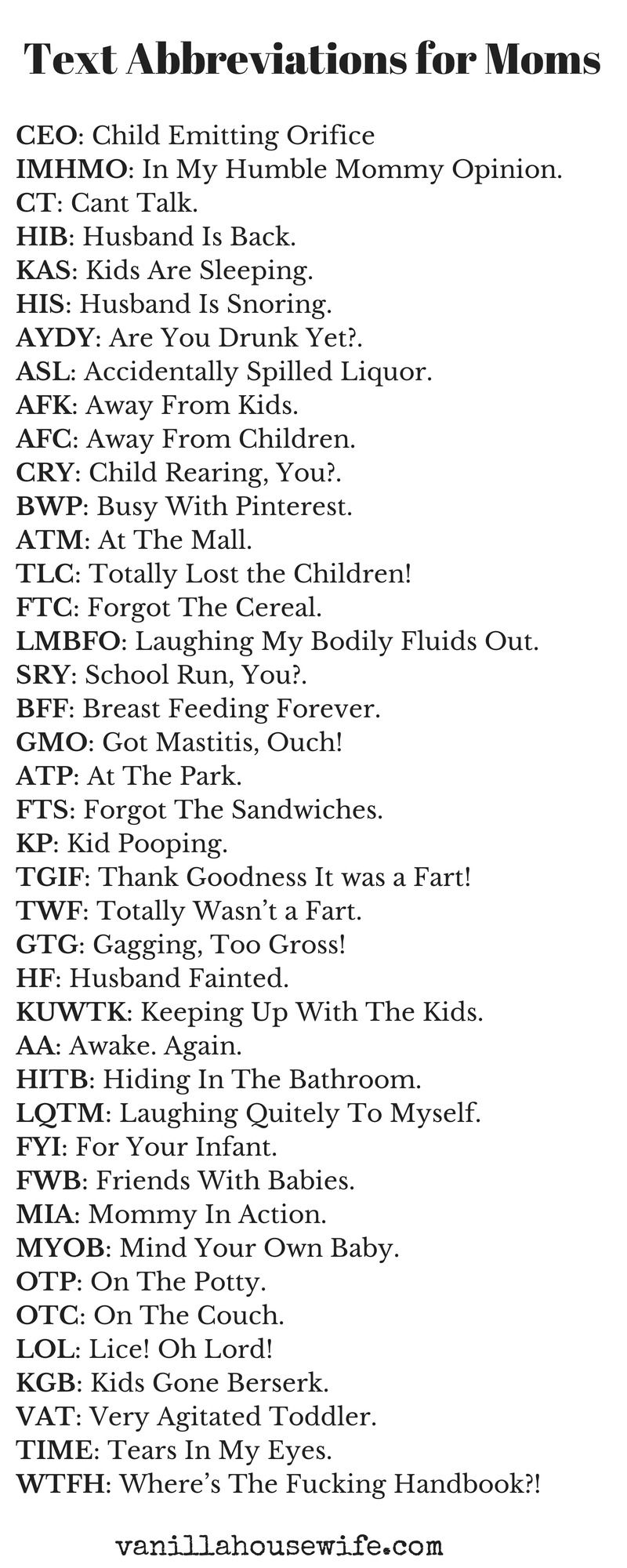 Printable text abbreviations for moms from themissusv printable text abbreviations for moms from themissusv momproblems parenting biocorpaavc Gallery
