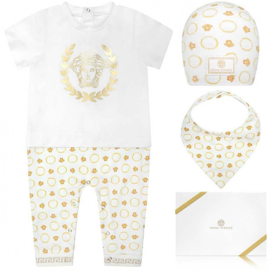 Young Versace Ivory Gold Romper Gift Set 3 Piece Baby Boy Gender Baby Versace Baby Clothes Gucci Baby Clothes Designer Kids Clothes