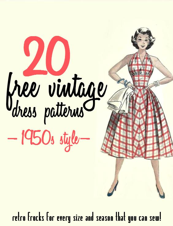 20 Free 1950s Style Dress Patterns (Va-Voom Vintage) | 1950s style ...