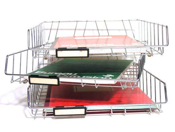 Trieur A Courrier Vintage Corbeille A Courrier Retro Corbeille En Metal Inoxydable Accessoire De Bureau Industriel Vintage Desk Organization Storage Baskets Industrial Home Design