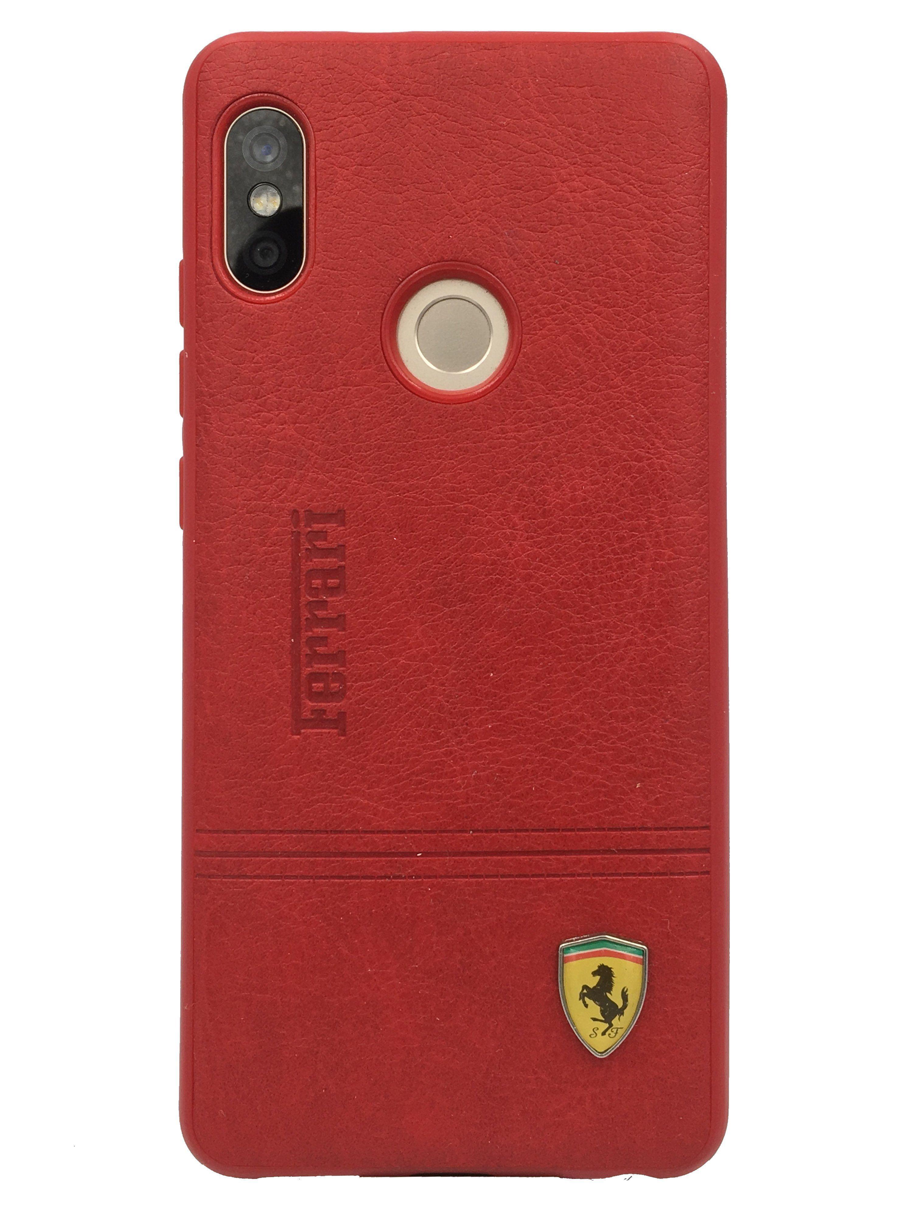 check out 81e2d 9ec8f Redmi Note 5 Pro Leather Back Soft Silicone Ferrari Back Case Cover ...