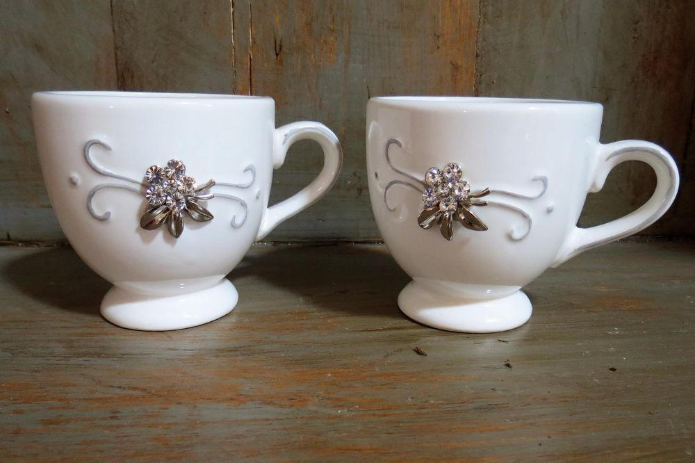 2 lovely white with jewels mugs great gift for wedding anniversary