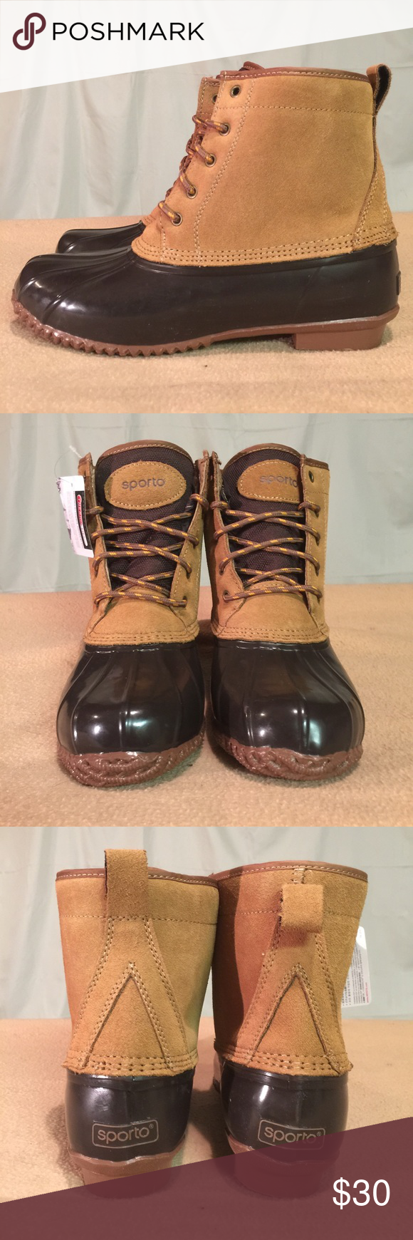 New Sporto Brown Leather & Waterproof Duck Boots These shoes are Brand New/Never Worn and are in PERFECT CONDITION. Sporto Shoes Ankle Boots & Booties