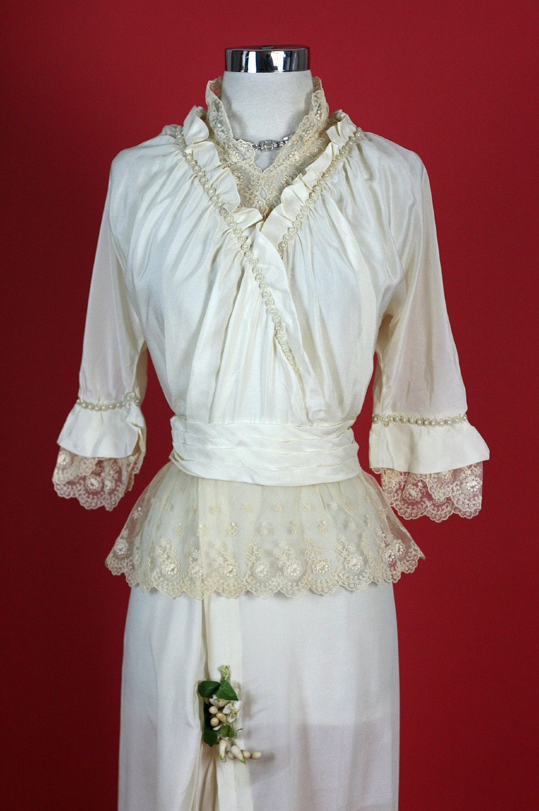 S s edwardian antique beaded lace train party wedding dress