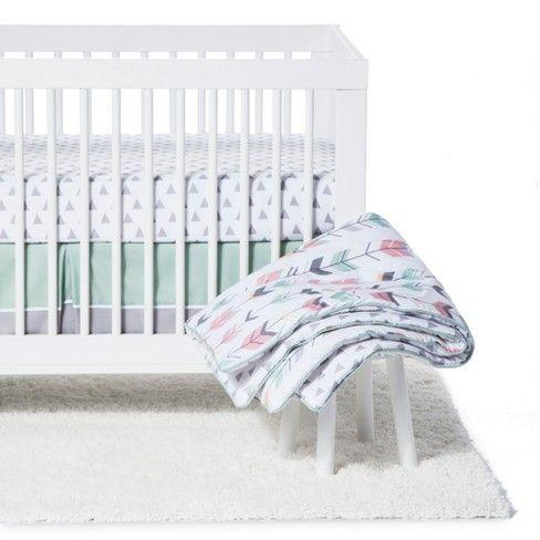 Sweet Jojo Designs Crib Bedding Set Mod Arrow Coral Mint 11pc