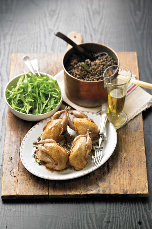 whole roasted quail with lentils recipe food recipes pinterest