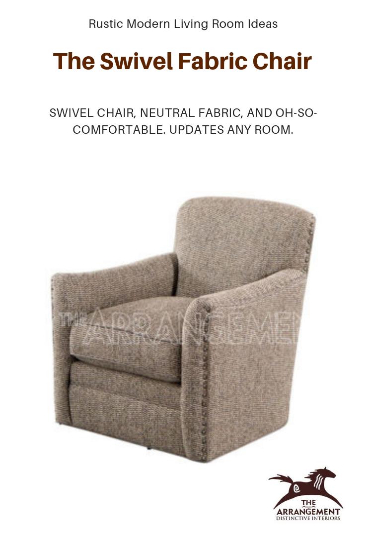 Swivel Fabric Chair Luna Modern Furniture Living Room Modern Rustic Living Room Chair Fabric