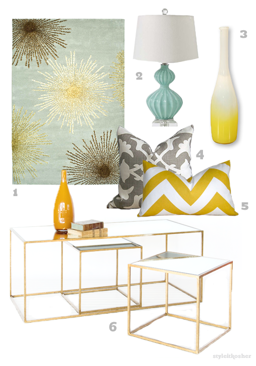 Aqua Blue And Chartreuse Yellow Nesting Tables Coffee Table With Glass And Gold Leaf