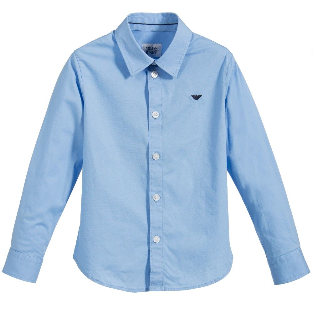 029cfa6822fd ARMANI NEWBORN Boys Classic Pale Blue Cotton Shirt