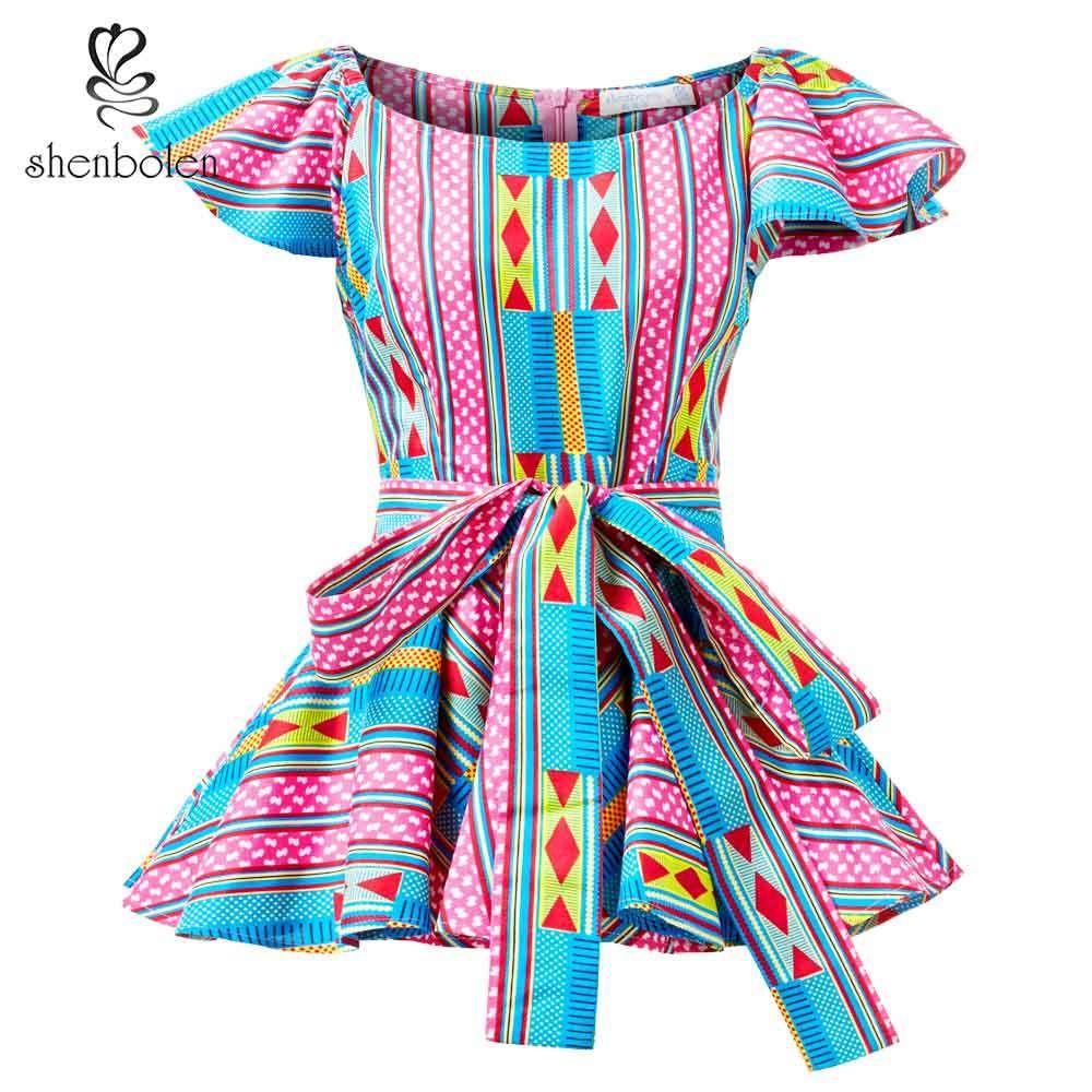 Shenbolen Women African Print Top Ankara Shirt