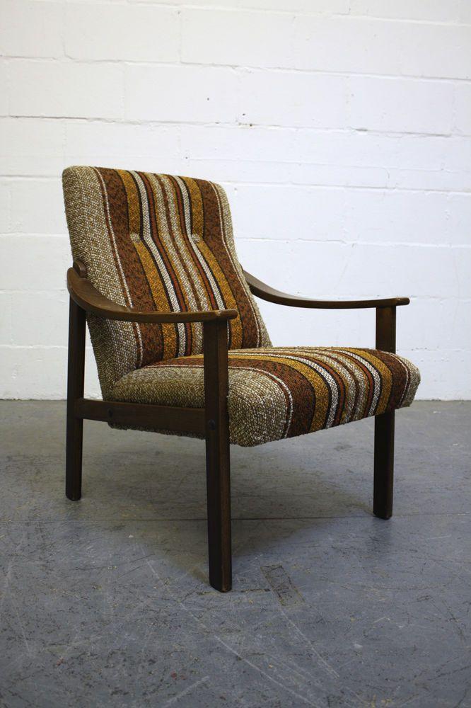 Vintage Scandinavian Brown Orange Wool & Teak Armchair Retro Chair 1970s
