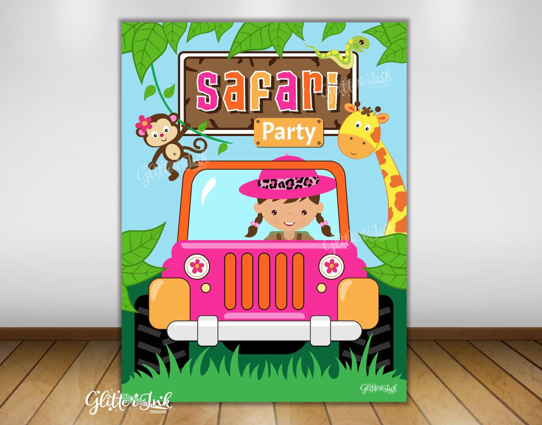 Jungle safari party printable poster dessert table backdrop