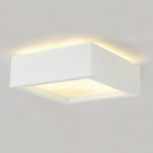 Gips deckenleuchte gl 104 e27 wei eek a a for Deckenlampe lang