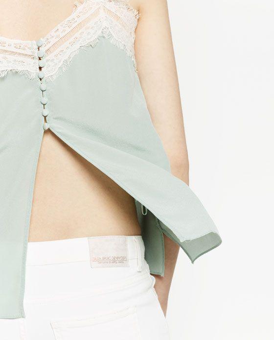 Imagen 6 de TOP LENCERO SEDA de Zara | COSTURA | Pinterest | Seda ...