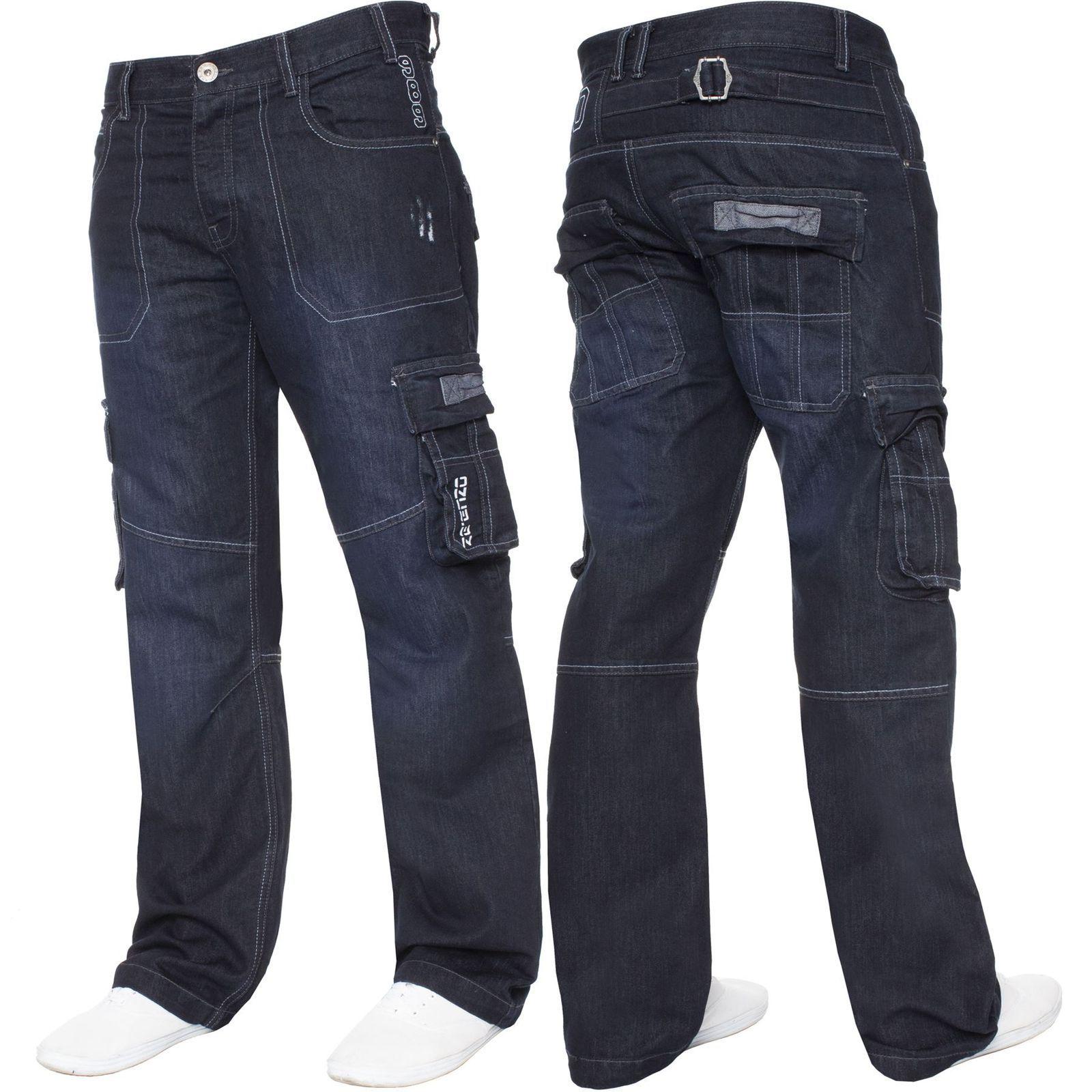 New Mens ENZO Regular Straight Fit Denim Blue Jeans Pants All Waist Sizes