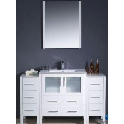 "Fresca Torino 54"" Single Modern Bathroom Vanity Set with Mirror Base Finish: White"