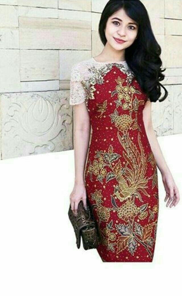 Batik Brokat Kombinasi Yang Indah Batik Congsam Casual Dress Di