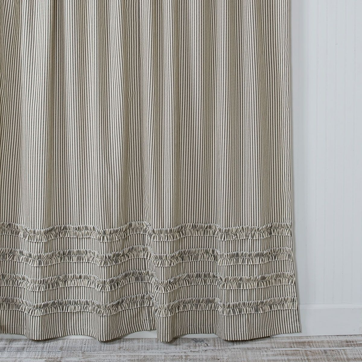 Vintage Ticking Stripe Shower Curtain With Ruffles Ruffle Shower
