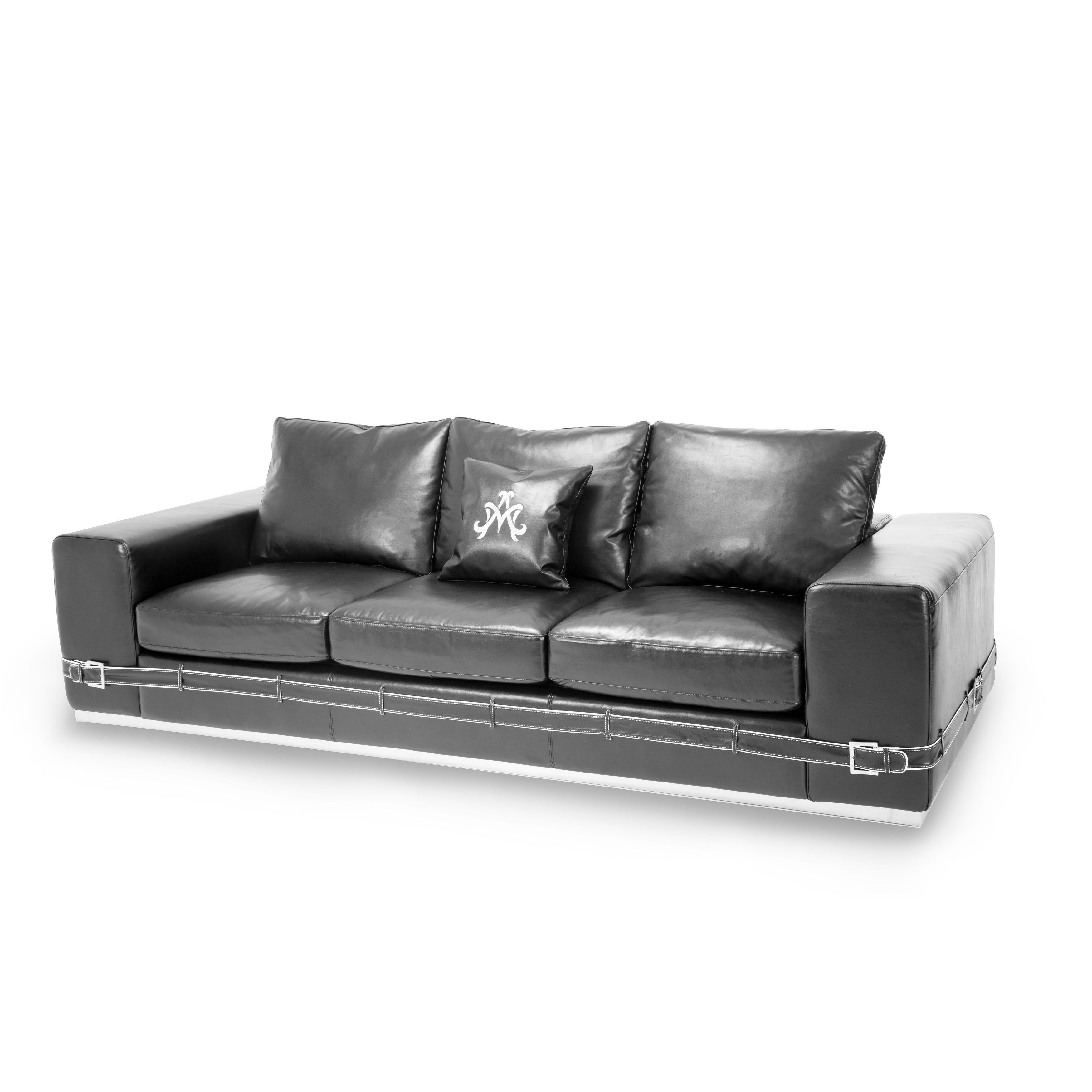 Ciras Black Leather Mansion Sofa Michael Amini