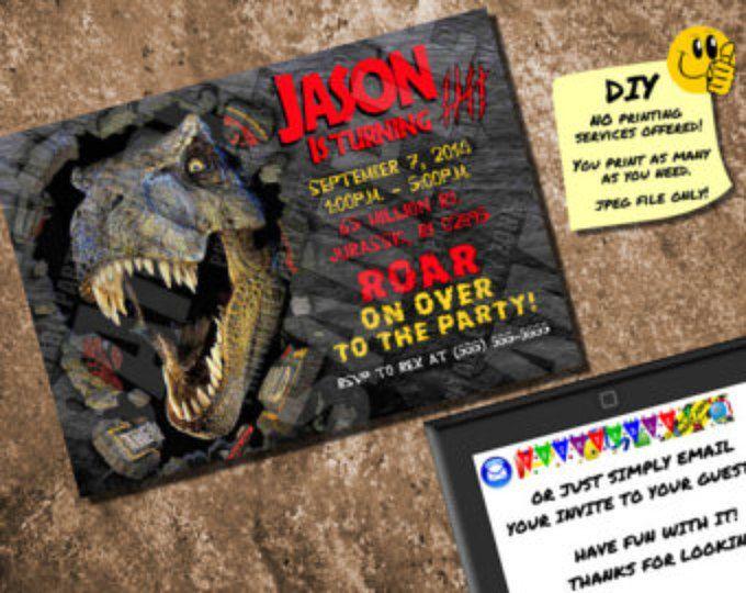 JURASSIC PARK INVITE Printable Birthday Ticket. Emailable