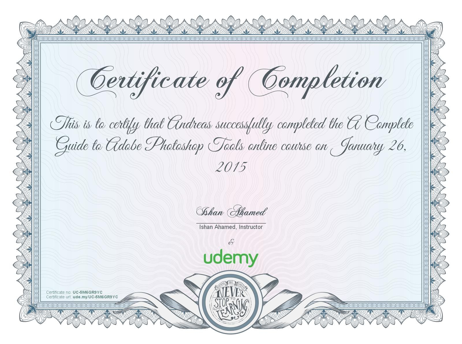 Got my first certificate via Udemy com - Completion certificate for