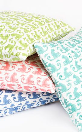 monkey print boudoir sized pillow cover -- so fun! $30.00 from #rickshawdesign