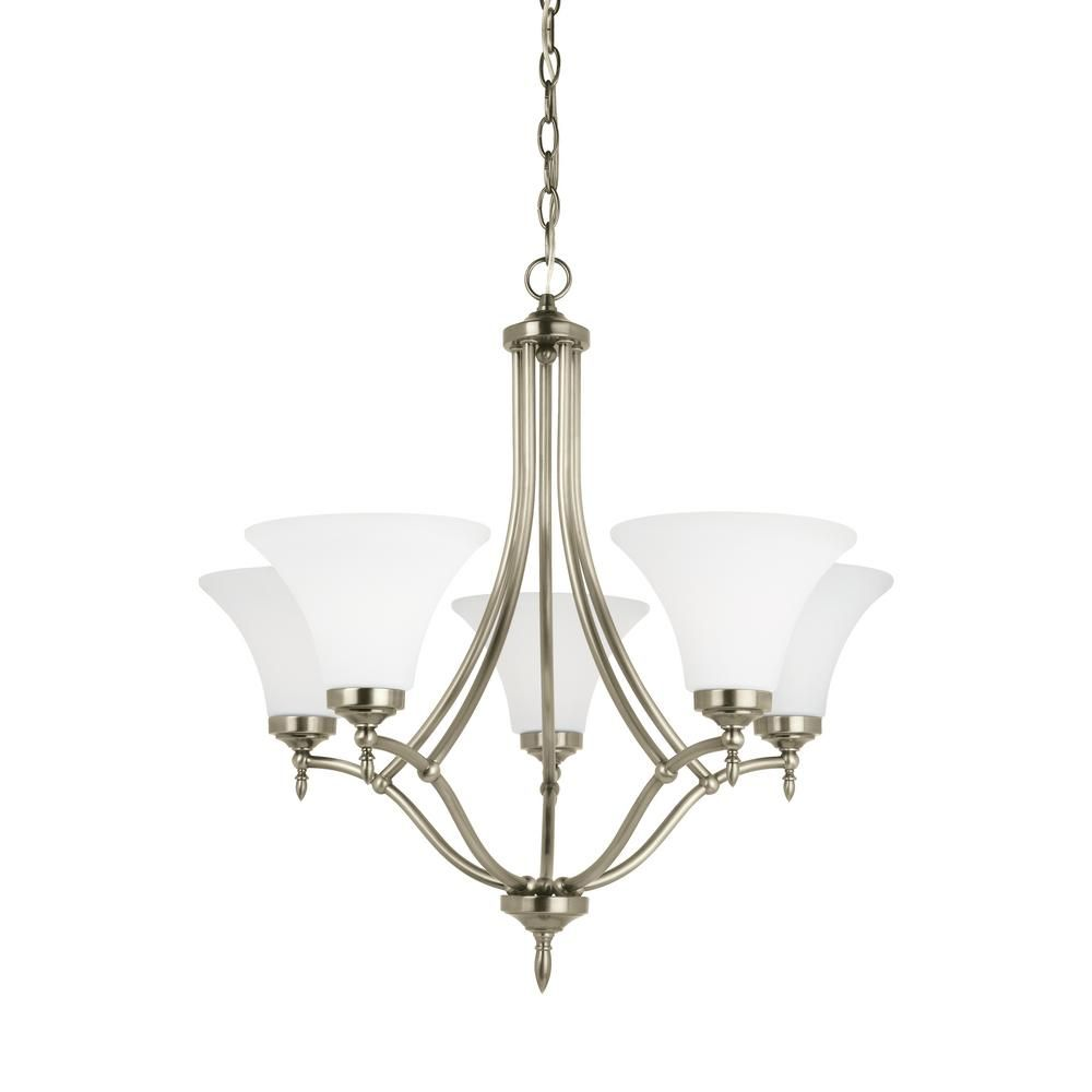 Sea Gull Lighting Montreal 5 Light Antique Brushed Nickel Chandelier With LED Bulbs